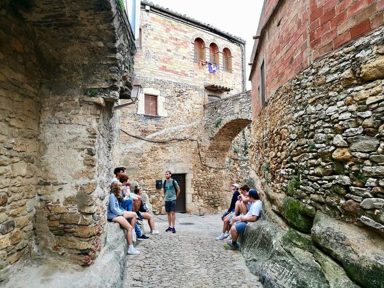 Proctor en Segovia students visit the medieval Catalan town of Peratallada.