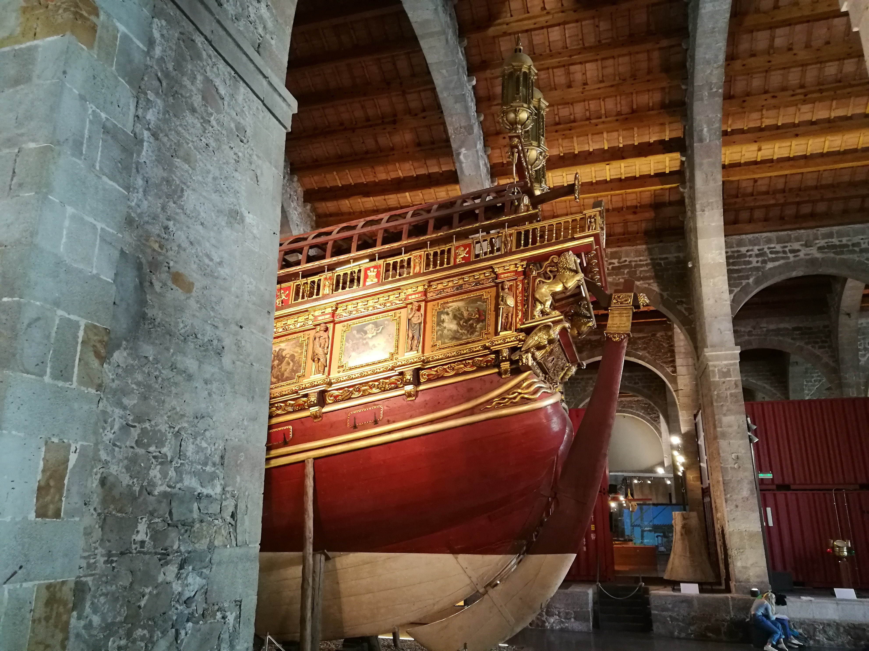 Proctor en Segovia students visit Barcelona's Maritime Museum.